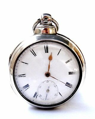 Antique Pocket Watch Fusee English Andrew Bruce 1830c Double Silver Box 52mm