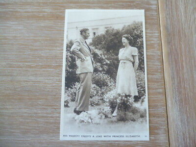 vintage unused post card  his Majesty enjoys a joke with Princess Elizabeth