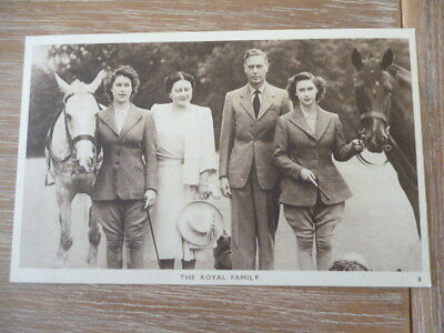 vintage unused post card The Royal Family with horses