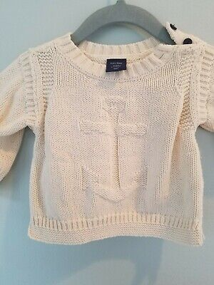 BABY GAP Boys Cream Nautical Sweater Size 0-3 Months