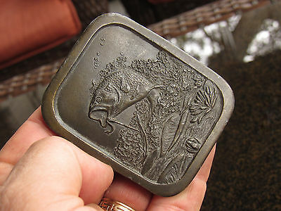 Vintage 1976 Indiana Metal Craft Large Mouth Bass Jumping Fishing Belt Buckle