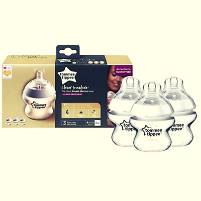 Baby Feeding Bottles Clear Closer To Nature Tommee Tippee 3 Pack Set 150ml 0m+
