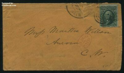 United States of America 1864 Letter to Aurora with 10c green suss!864b