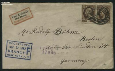 United States of America 1882 Registered letter from New York to Berlin suss!882