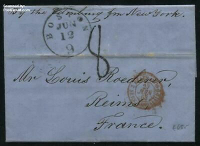 United States of America 1863 Letter from Boston (jun 12) to Reims (F) (27 juin