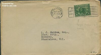 United States of America 1914 Envelope to Stanislaus,Cal. suss!914