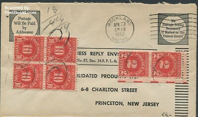 United States of America 1952 Reply envelope to New Jersey suss!952b