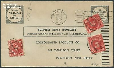 United States of America 1953 Reply envelope to New Jersey suss!953
