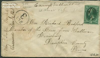 United States of America 1874 Envelope to Dauphin County, cancelled with ink sus