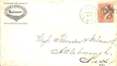 United States of America 1861 Letter from Baltimore to Attleborough  suss!861a
