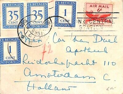 United States of America 1951 Letter to Amsterdam with dutch postage due 72c sus