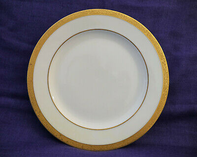 THOMAS BAVARIA China Set of 4 Footed Dinner Plates Ivory with GOLD ENCRUSTED Rim