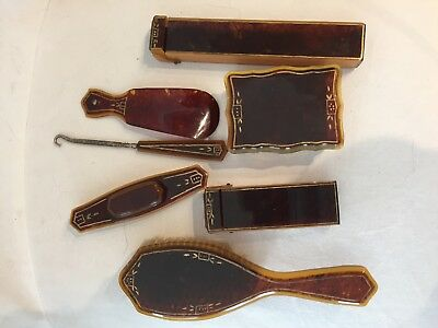 Vintage art deco tortoise color celluloid vanity dresser set: brush, buffer, box