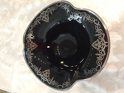 Art deco black glass sterling silver overlay footed fruit bowl console dish