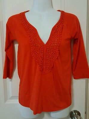 d7471c5c501c1a J CREW WOMEN S Orange Crocheted V-Neck 3 4 Sleeve Blouse Top Size ...