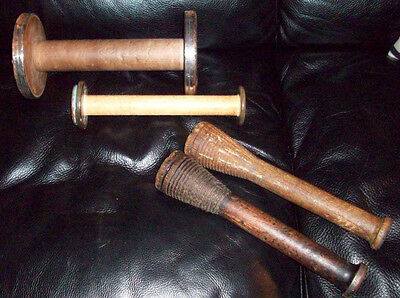 Lot of 4 Vintage Wooden Industrial Bobbin, Quill, Spool, Thread, Yarn, Textile