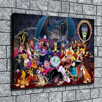 """12""""x16"""" Disney villains Paintings HD Print on Canvas Home Decor Wall Art Picture"""