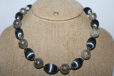 "Vtg Signed Japan Round & Oval Bead NECKLACE Silver Tone/Gray 17"" (j808)"