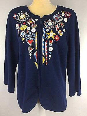 40b31d4c1e8620 Bob Mackie Wearable Art Blazer Large Jacket Coat Embroidered Cotton Zipper  Blue