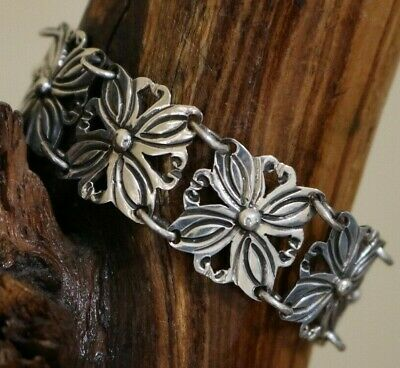 Vtg Mexico Sterling Silver Art Deco Floral Oxidized Link Bracelet TAXCO 6.75 In