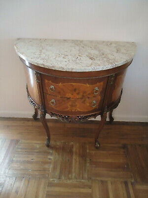 19th Century Antique French Style Louis XV Marquetry Marble Top Commode 2-Drawer
