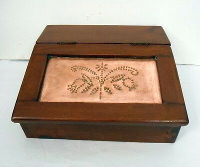 Vintage 1974~Hand-Crafted~Solid/Thick/Heavy Wood w/Copper Lid~Desktop Secretary