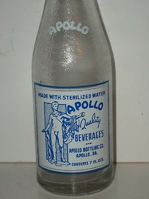 NM1947 7oz APOLLO SODA Bottle NUDE MAN Blue ACL Bottling Co PA Glass Sign Statue