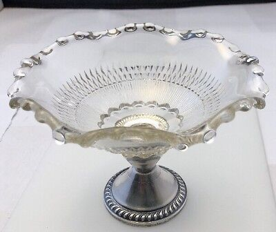 Vintage Duchin Creations Sterling Silver & Scalloped Glass Candy Dish