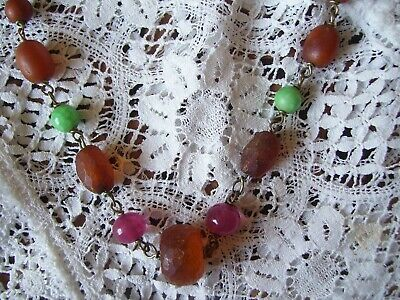 Antique Chinese Amber Bead Necklace Peking Glass Faceted Amber Beads-circa 1920.