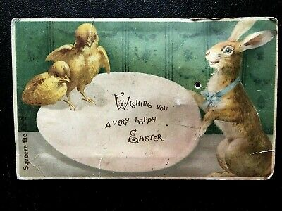 Antique Primitive Easter Victorian Early 1900's Squeak Bunny Chick Postcard AAFA