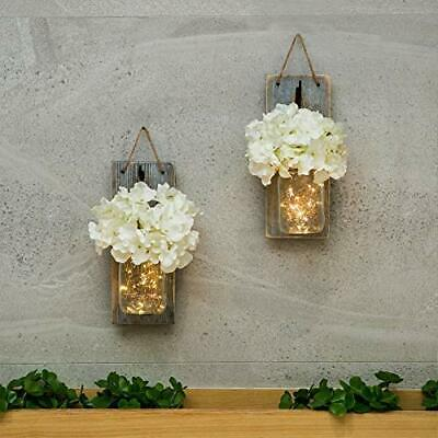 Mason Jar Sconce Wall Art Home Decor – Lighted Rustic Country Farmhouse Nightlig