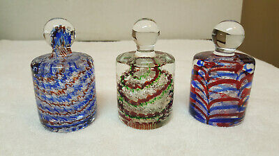 (3) Vtg Multi-Color - Murano Italy Mcm Knob Handle Paperweight Bubble Art Glass