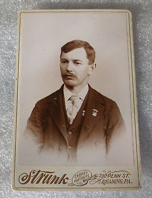 Antique Cabinet Card Photograph Handsome Man Mustache Medals Reading, PA -Strunk