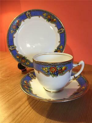 Royal Albert Blue Fruit Pattern Art Deco Trio Cup, Saucer and Side Plate