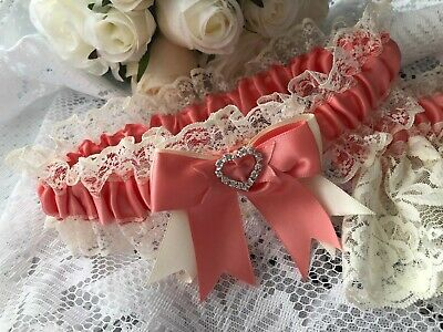 WEDDING GARTER CORAL PINK SATIN AND IVORY LACE HEARTS bridal shower gift bride
