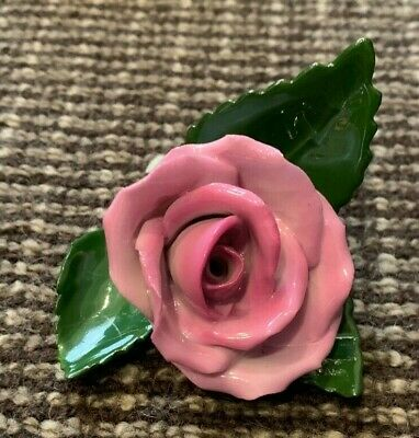 HEREND PINK ROSE Figurine Flower 9106