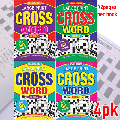 4 x A4 Crossword Puzzle Books To Solve Convenient Fun Game (60 Puzzles/Book)