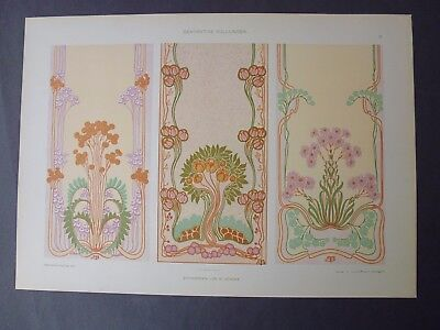 Antique Lithograph Art Nouveau Decorative Surface Areas Nice!