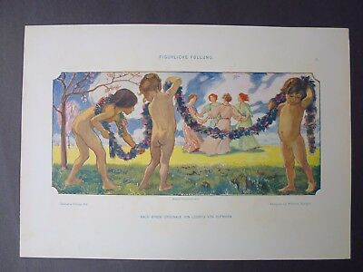 Antique Lithograph Art Nouveau Decorative Figures Dancing Nice!