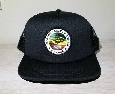 c0f8348f4e4 NEW Vans Triple Crown Of Surfing Hawaii Trucker Snapback Rasta Cap Hat WSL