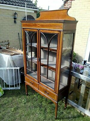Beautiful Edwardian Inlaid Display Cabinet