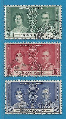 "Hong Kong  151-153  Used  George VI  ""Coronation Issue""  (1937)"