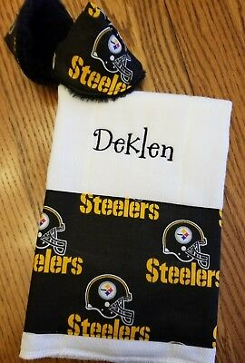 634078f3b PITTSBURGH STEELERS Baby Burp Cloth PERSONALIZED & TwO PPTP's NeW DAD Gift  ...