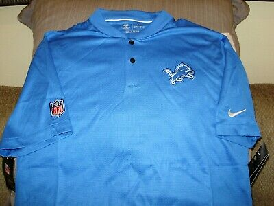 aab7be57 NFL DETROIT LIONS NIKE Dri Fit Elite Coaches Blue Blade Polo Golf ...