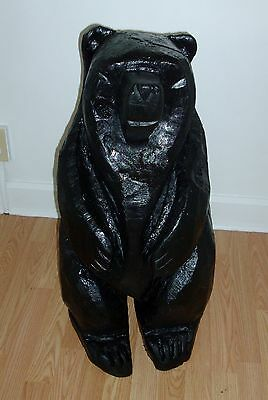 Art Or Decor Rustic Wooden Chainsaw Carving Of A Black Bear For Display Or Cabin