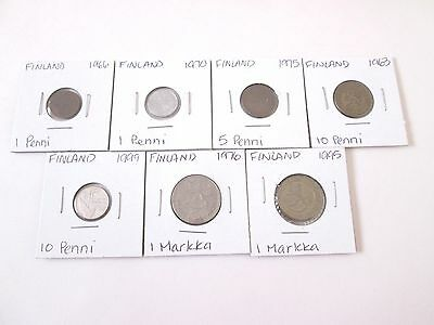 FINLAND,   7 coin lot, 1963-1999, circulated, carded