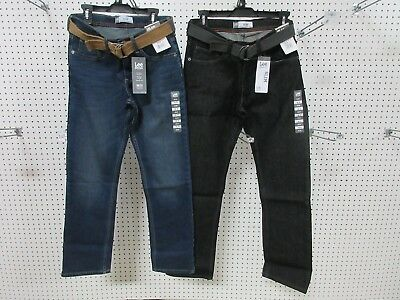 2 Lee Dungarees Boys Kids Youth Pants Jeans Clothes Slim 16 R Belt Straight Leg