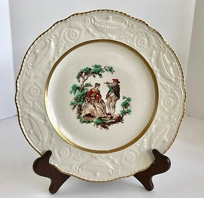 """Vintage Steubenville Ivory Courting Couple 10 1/2"""" plate with Gold Trim"""