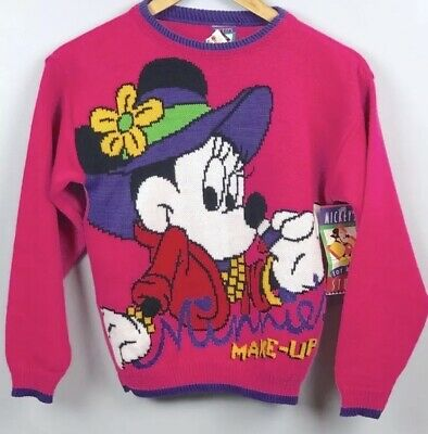 "NWT VINTAGE Minnie Mouse Knit Sweater Girls 10/12 ""Make Up Minnie"" Pullover"