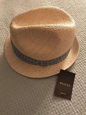 1a54516a05a09 NEW GUCCI STRAW Leather Wide Brim Hat sz M Italy -  253.49